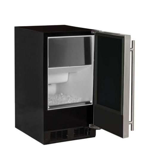 "Marvel MA15CPS1LS     15"" ADA Height Clear Ice Machine with Arctic Illuminice Lighting - Factory Installed Pump - Solid Stainless Steel Door, Left Hinge"
