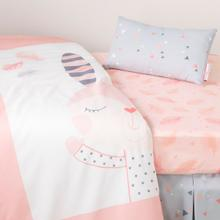 Dreamit - Doudou the rabbit 3-Piece Baby Crib Bed Set and Pillow, White and Pink, Crib