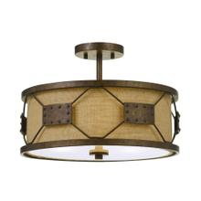 60W X 3 Ragusa Metal 2 in 1 Pendant/Semi Flush Mount Fixture With Burlap Shade