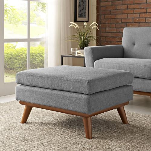 Modway - Engage Upholstered Fabric Ottoman in Expectation Gray