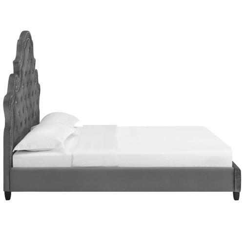Modway - Valentina Queen Tufted Nailhead Performance Velvet Platform Bed in Gray
