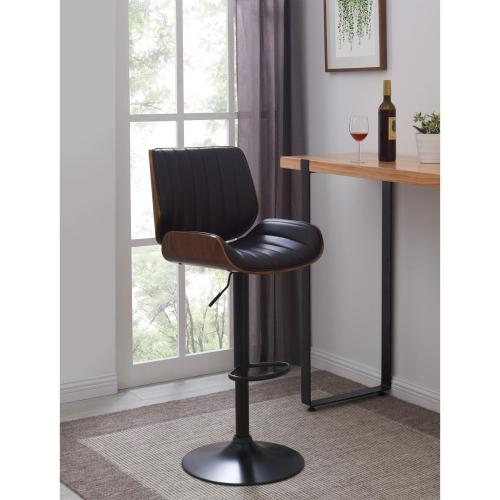 Osborne KD PU Gaslift Bar Stool, Black/Walnut