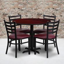 Product Image - 36'' Round Mahogany Laminate Table Set with X-Base and 4 Ladder Back Metal Chairs - Burgundy Vinyl Seat