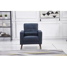 See Details - 8135 NAVY Linen Stationary Tufted Chair