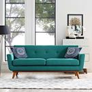 Engage Upholstered Fabric Loveseat in Teal Product Image