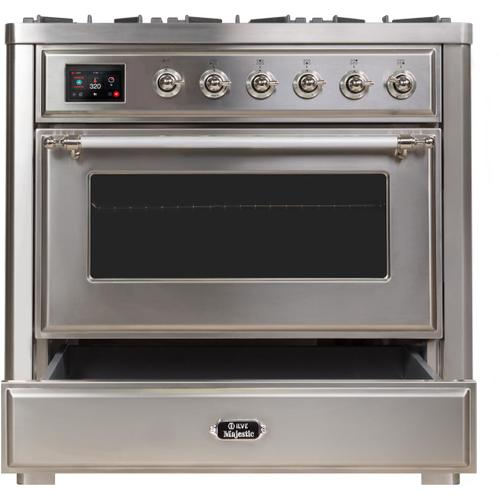 Majestic II 36 Inch Dual Fuel Liquid Propane Freestanding Range in Stainless Steel with Chrome Trim