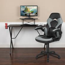 See Details - Black Gaming Desk and Gray\/Black Racing Chair Set with Cup Holder, Headphone Hook, and Monitor\/Smartphone Stand