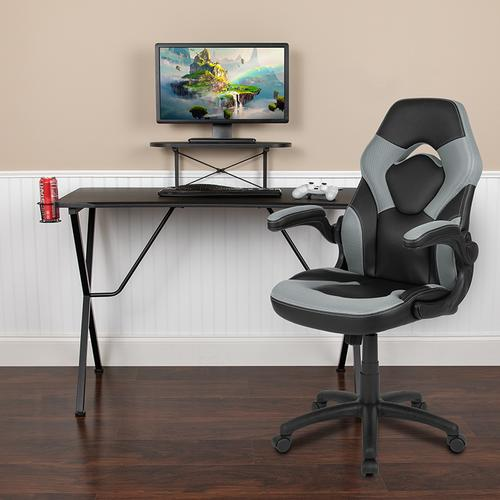 Gallery - Black Gaming Desk and Gray\/Black Racing Chair Set with Cup Holder, Headphone Hook, and Monitor\/Smartphone Stand