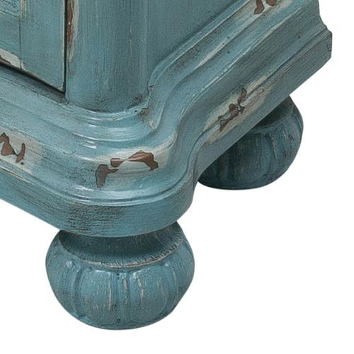 French Country Distressed Blue Door Chest