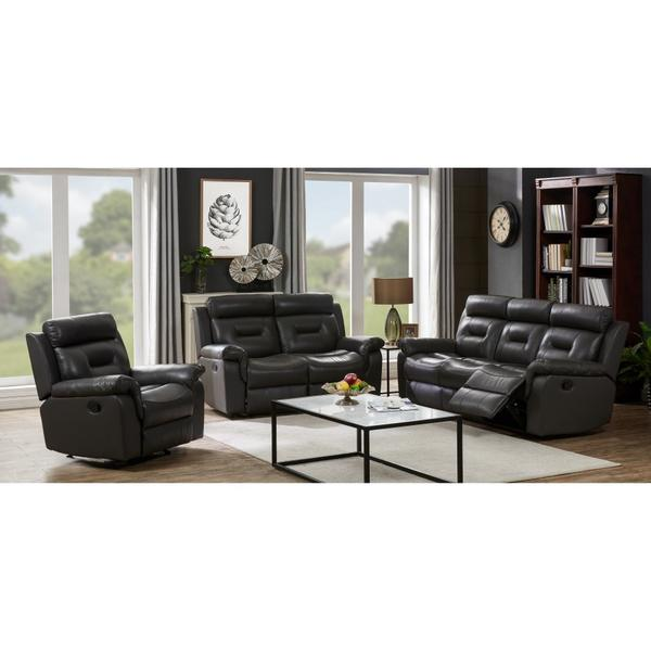See Details - Paolo Gray Leather Reclining Sofa, Loveseat & Rocker Set, ML3712
