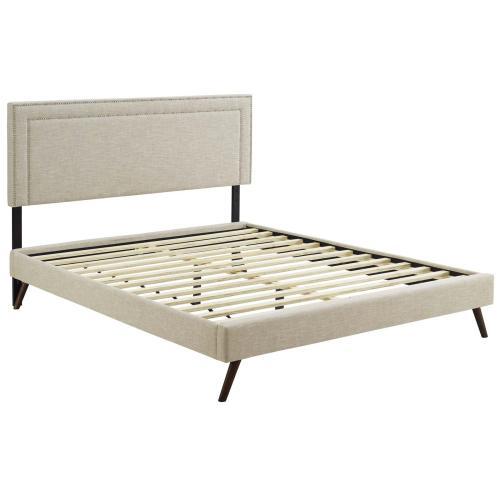 Virginia King Fabric Platform Bed with Round Splayed Legs in Beige