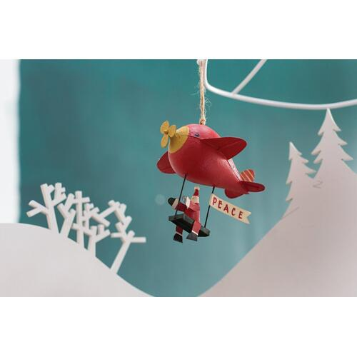 "5""x 4.75""x 5"" Red Pilot Santa Ornament (Blimp Option)"