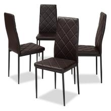 View Product - Baxton Studio Blaise Modern and Contemporary Brown Faux Leather Upholstered Dining Chair (Set of 4)