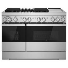 """See Details - NOIR 48"""" Dual-Fuel Professional-Style Range with Chrome-Infused Griddle and Grill"""