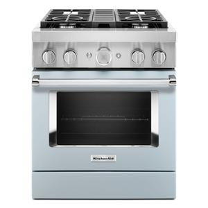 KitchenAidKitchenAid® 30'' Smart Commercial-Style Dual Fuel Range with 4 Burners - Misty Blue