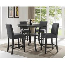 See Details - Biony Espresso Wood Counter Height Dining Set with Grey Fabric Nailhead Stools