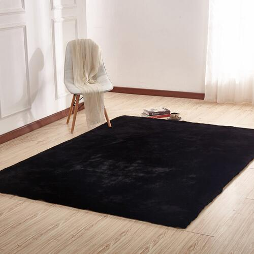 "Chinchilla Feel Faux Fur Area Rug by Rug Factory Plus - 7'6"" x 10'3"" / Black"