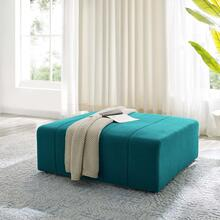 Bartlett Upholstered Fabric Ottoman in Teal