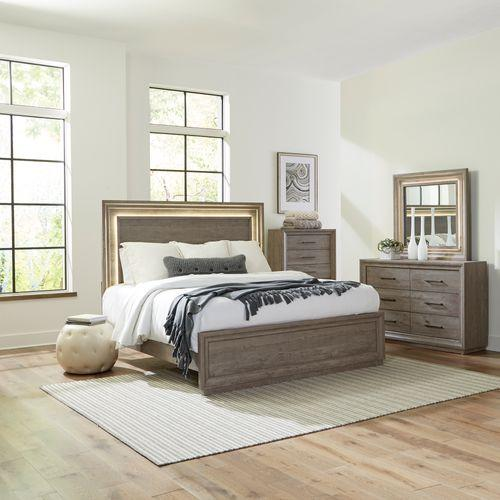 Liberty Furniture Industries - King Panel Bed, Dresser & Mirror, Chest
