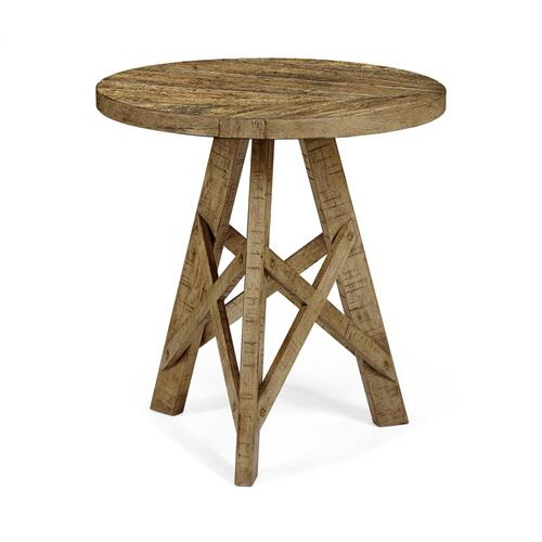 Rustic Circular Planked Medium Driftwood Lamp Table