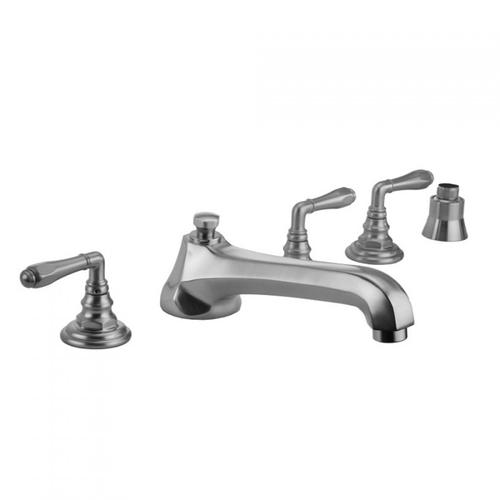 Jaclo - Polished Nickel - Westfield Roman Tub Set with Low Spout and Smooth Lever Handles and Straight Handshower Mount