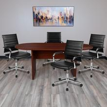 See Details - 5 Piece Mahogany Oval Conference Table Set with 4 Black LeatherSoft Ribbed Executive Chairs