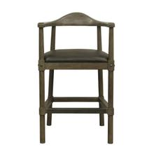 See Details - Curved Back Wooden Farmhouse Counter Stool