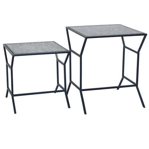 Product Image - ORSON TABLE SET GUN METAL & ANTIQUE GLASS FINISH