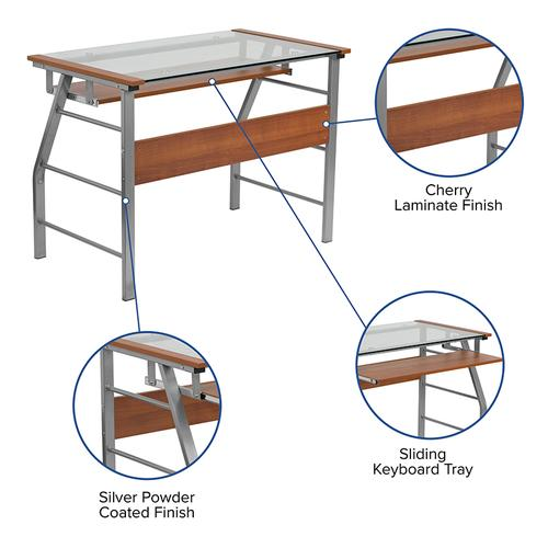 Flash Furniture - Glass Computer Desk with Pull-Out Keyboard Tray and Bowed Front Frame