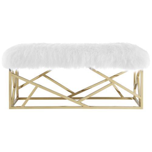 Intersperse Sheepskin Bench in Gold White