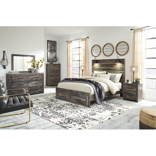 Queen Panel Bed With 2 Storage Drawers With Mirrored Dresser