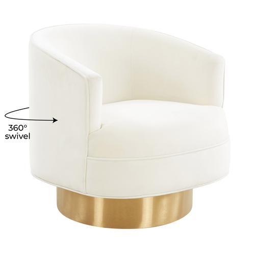 Tov Furniture - Stella Cream Velvet Swivel Chair