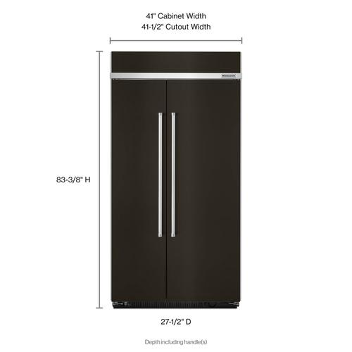 Product Image - 25.5 cu. ft 42-Inch Width Built-In Side by Side Refrigerator with PrintShield™ Finish - Black Stainless