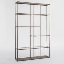 See Details - Santa Barbara Metal and Glass Bookcase