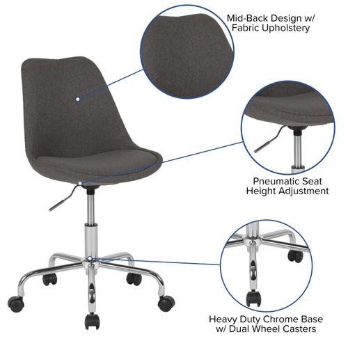 Gallery - Aurora Series Mid-Back Dark Gray Fabric Task Office Chair with Pneumatic Lift and Chrome Base