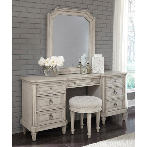 Linen Grace Upholstered Vanity Stool