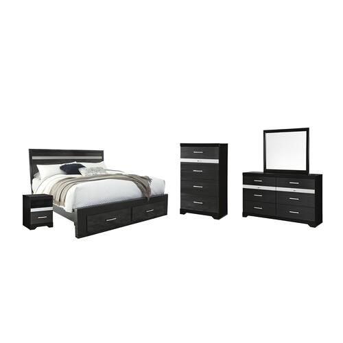 Ashley - King Panel Bed With 2 Storage Drawers With Mirrored Dresser, Chest and Nightstand