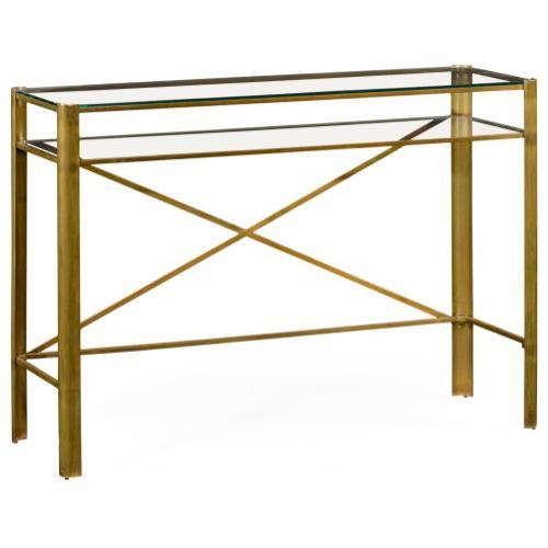 Modernist brass rectangular console