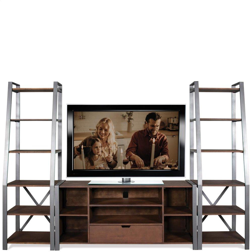 See Details - TV Console - Patina Wood/black Metal Finish