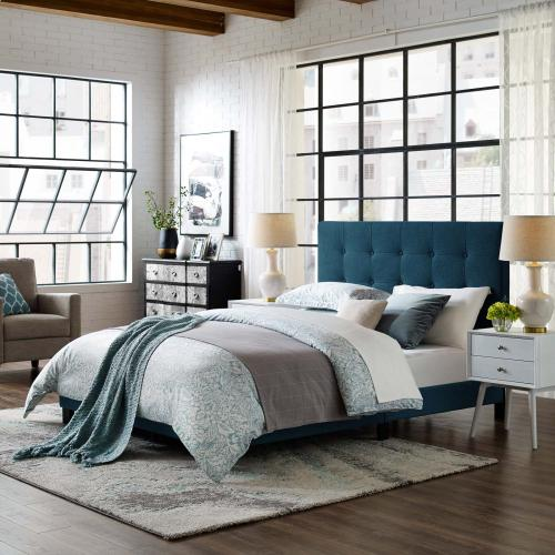 Melanie Queen Tufted Button Upholstered Fabric Platform Bed in Azure