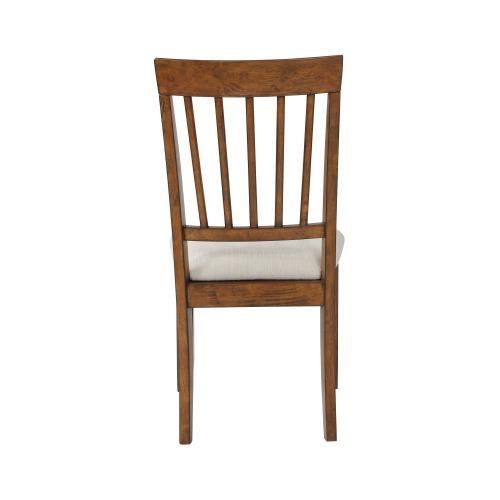 Upholstered Microfiber-filled Seat and Slat Back Side Chairs, Walnut (set of 2)