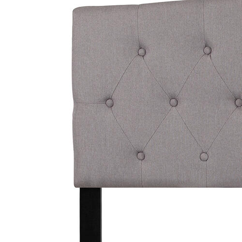 Flash Furniture - Cambridge Tufted Upholstered Queen Size Headboard in Light Gray Fabric