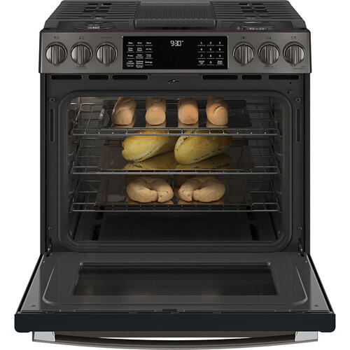 "GE Profile 30"" Slide-In Convection Gas Range with WiFi Connect Black Stainless - PCGS930BPTS"