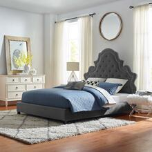 Valentina Queen Tufted Nailhead Performance Velvet Platform Bed in Gray
