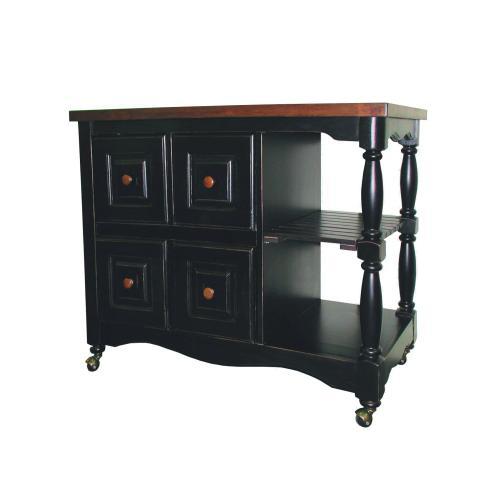 Regal Kitchen Cart - Antique Black with Cherry Accents