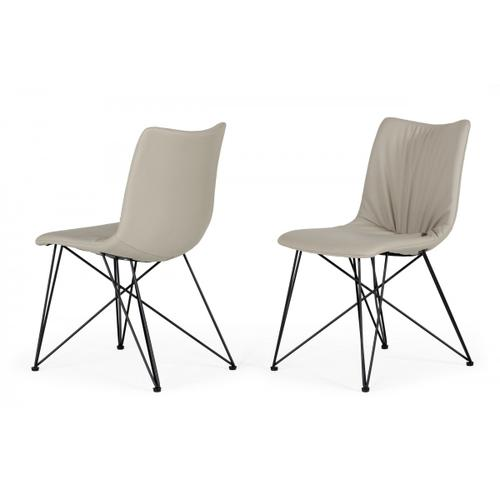 Naomi - Modern Grey Leatherette Dining Chair (Set of 2)