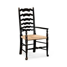 Black Painted Ladder Back Chair (Arm)