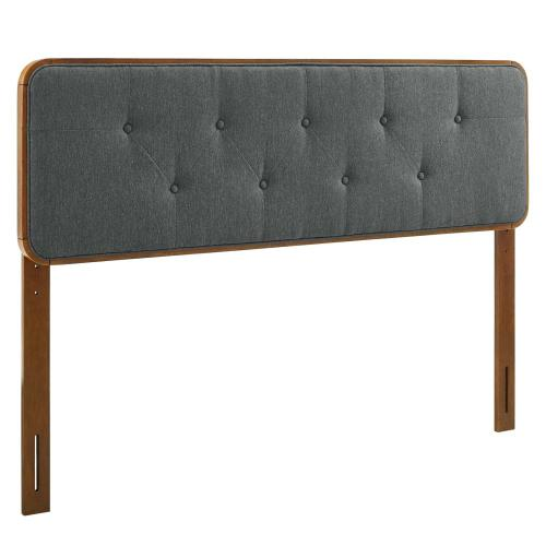Collins Tufted King Fabric and Wood Headboard in Walnut Charcoal