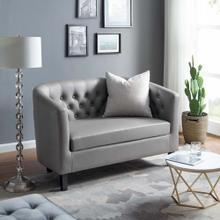 Prospect Upholstered Vinyl Loveseat in Gray