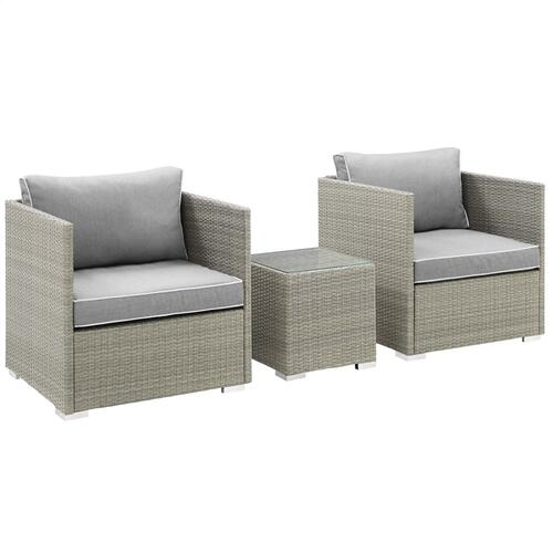 Repose 3 Piece Outdoor Patio Sectional Set in Light Gray Gray